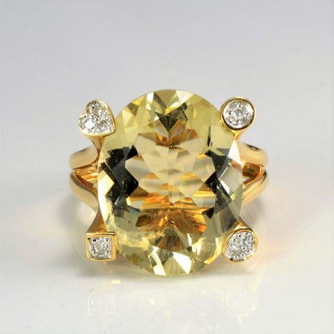 Lemon Quartz & Diamond Ring | 0.05 tw, SZ 7.75 |