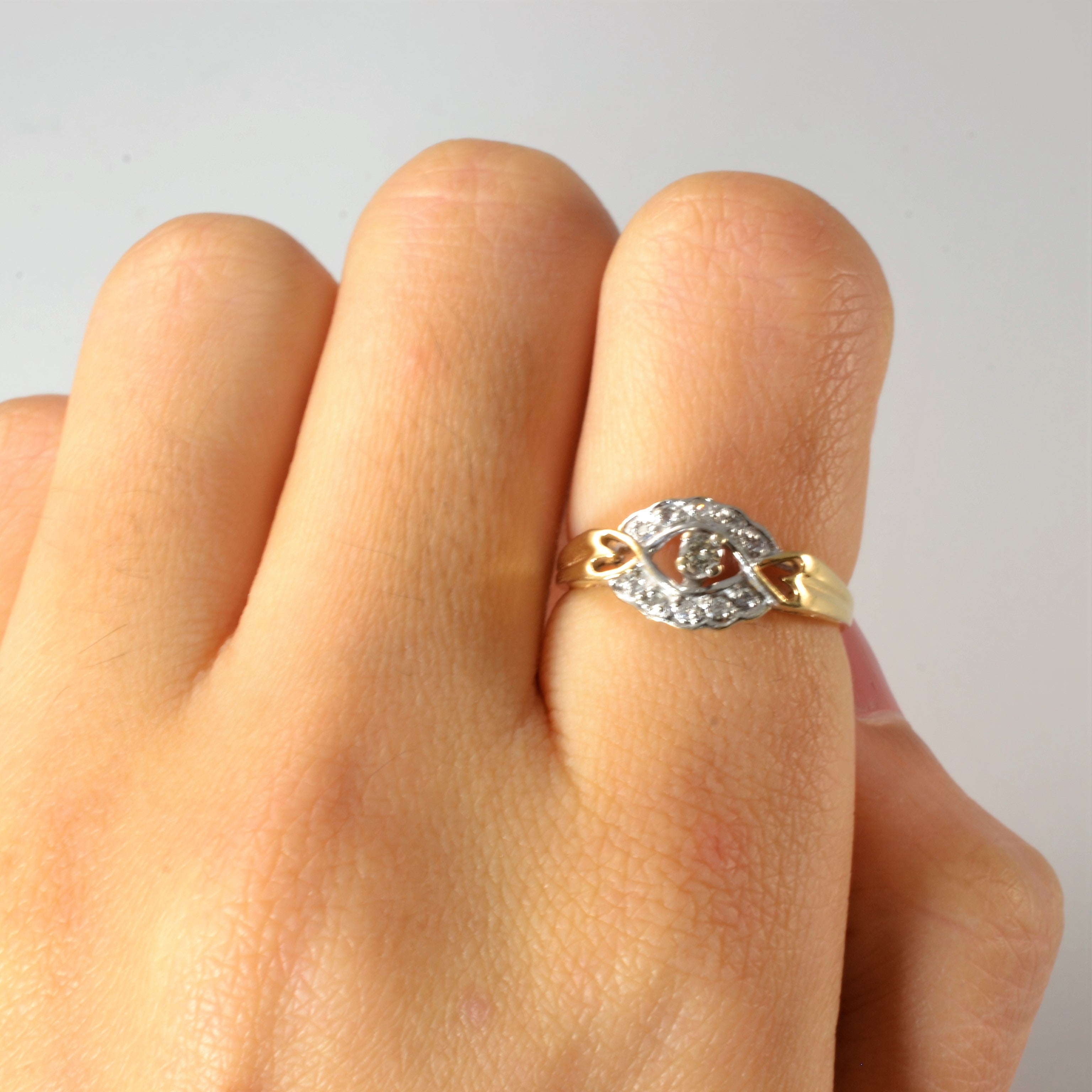 Open Heart Accented Diamond Promise Ring | 0.10 ctw, SZ 6 |