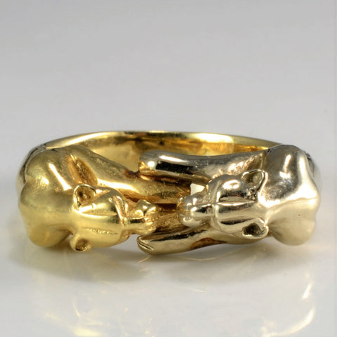 Two-Tone Gold Double Face Jaguar Ring | SZ 6 |