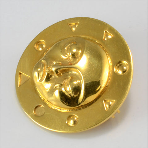18K Yellow Gold Native Sun Brooch