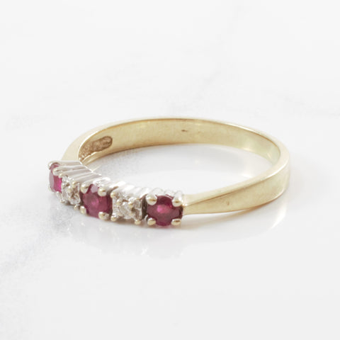 Alternating Diamond & Ruby Ring | 0.02ctw, 0.25ctw | SZ 6.25 |