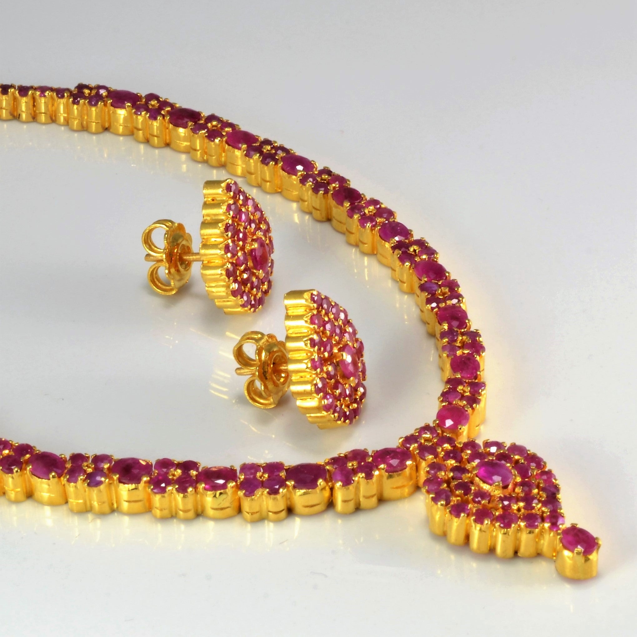 Elegant Ruby Necklace & Matching Earrings Set |16''|