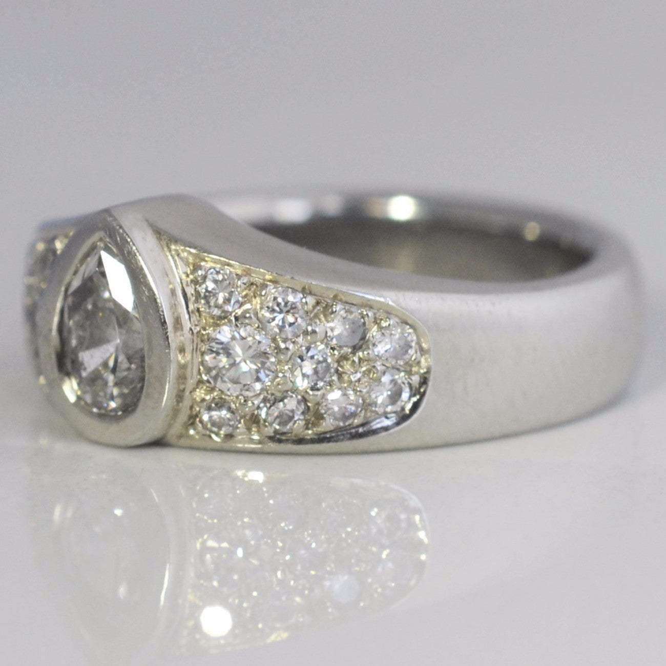 Pave Pear Diamond Engagement Ring | 0.90 ctw, SZ 5.5 |