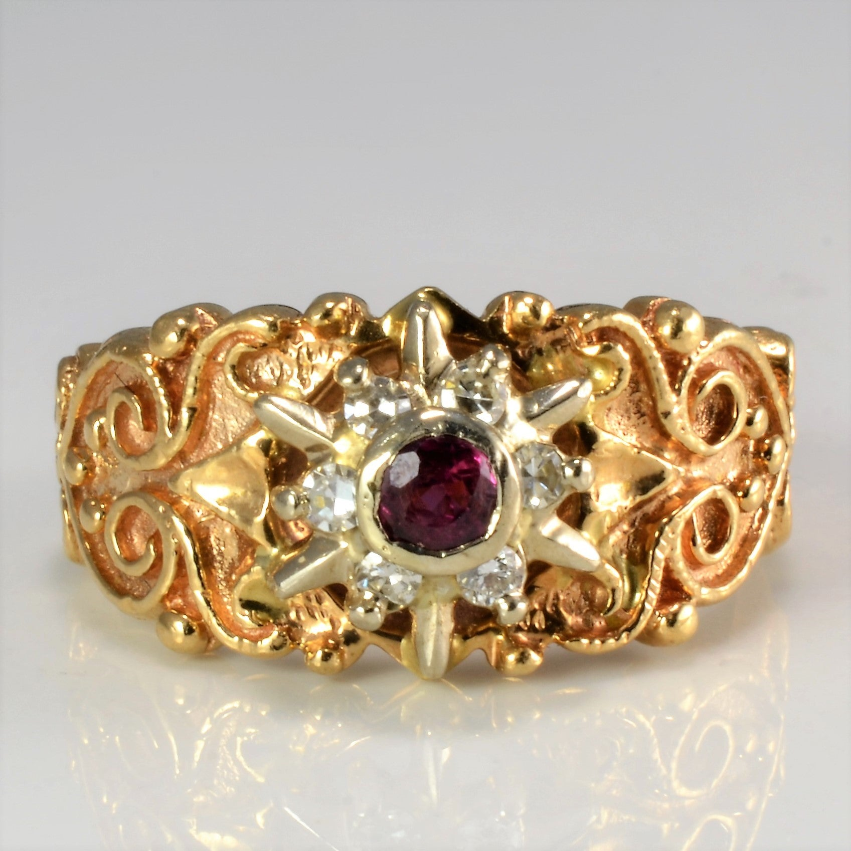 Vintage Filigree Designer Ruby & Diamond Ring | 0.12 ctw, SZ 6.25 |
