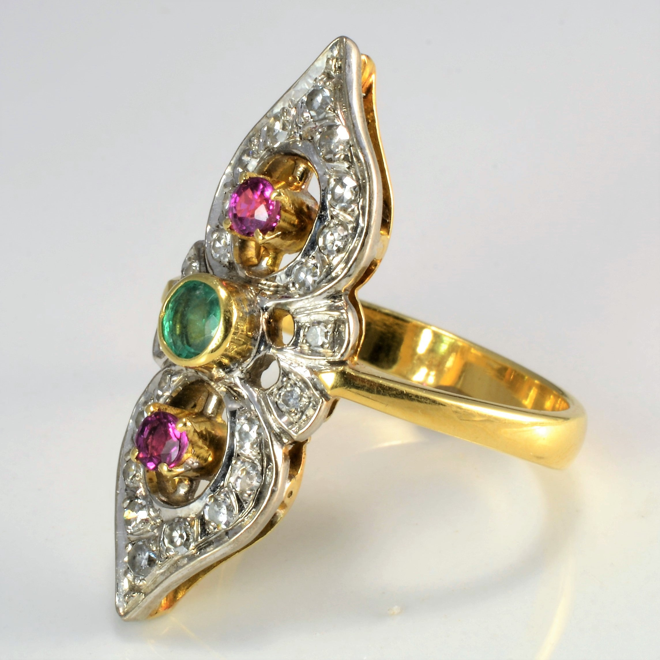 Vintage Art Deco Multi- Gem Ladies Ring | 0.40 ctw, SZ 9.5 |