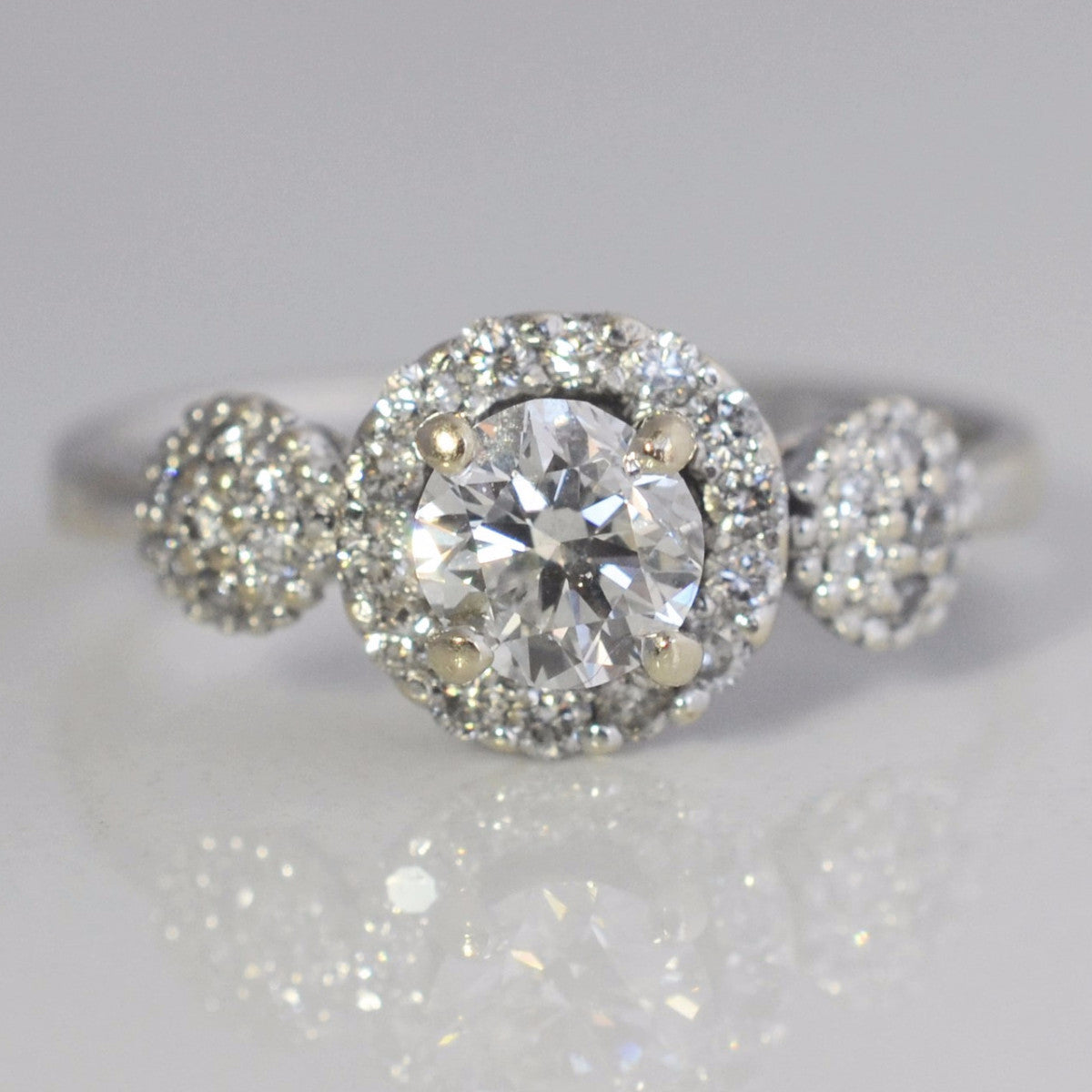 Pave Accented Halo Style Engagement Ring | 0.70 ctw, SZ 6.25 |