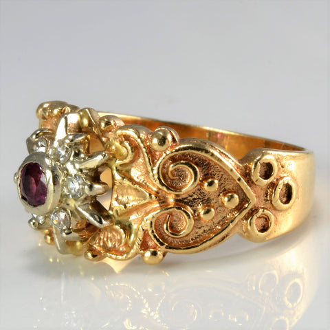 Art Nouveau Inspired Ruby & Diamond Ring | 0.12 ctw, SZ 6.25 |
