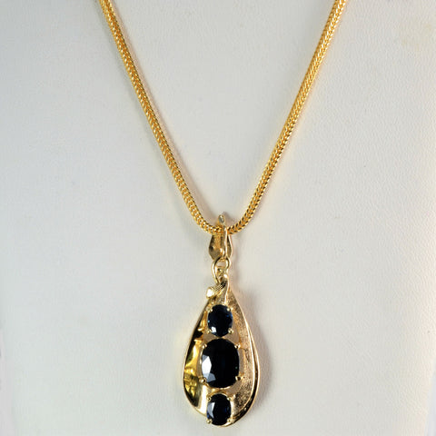 Drop Design Three Stone Sapphire Pendant Necklace | 24''|