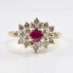 High Set Diamond Cluster and Ruby Ring | 0.55 ctw SZ 4.75 |