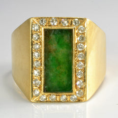 Heavy Jade & Diamond Mens Ring | 0.50 ctw, SZ 13