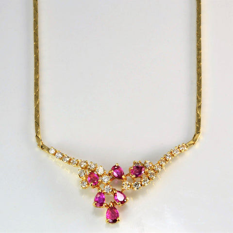 Cluster Pink Sapphire & Diamond Ladies Necklace | 0.66 ctw, 16''|