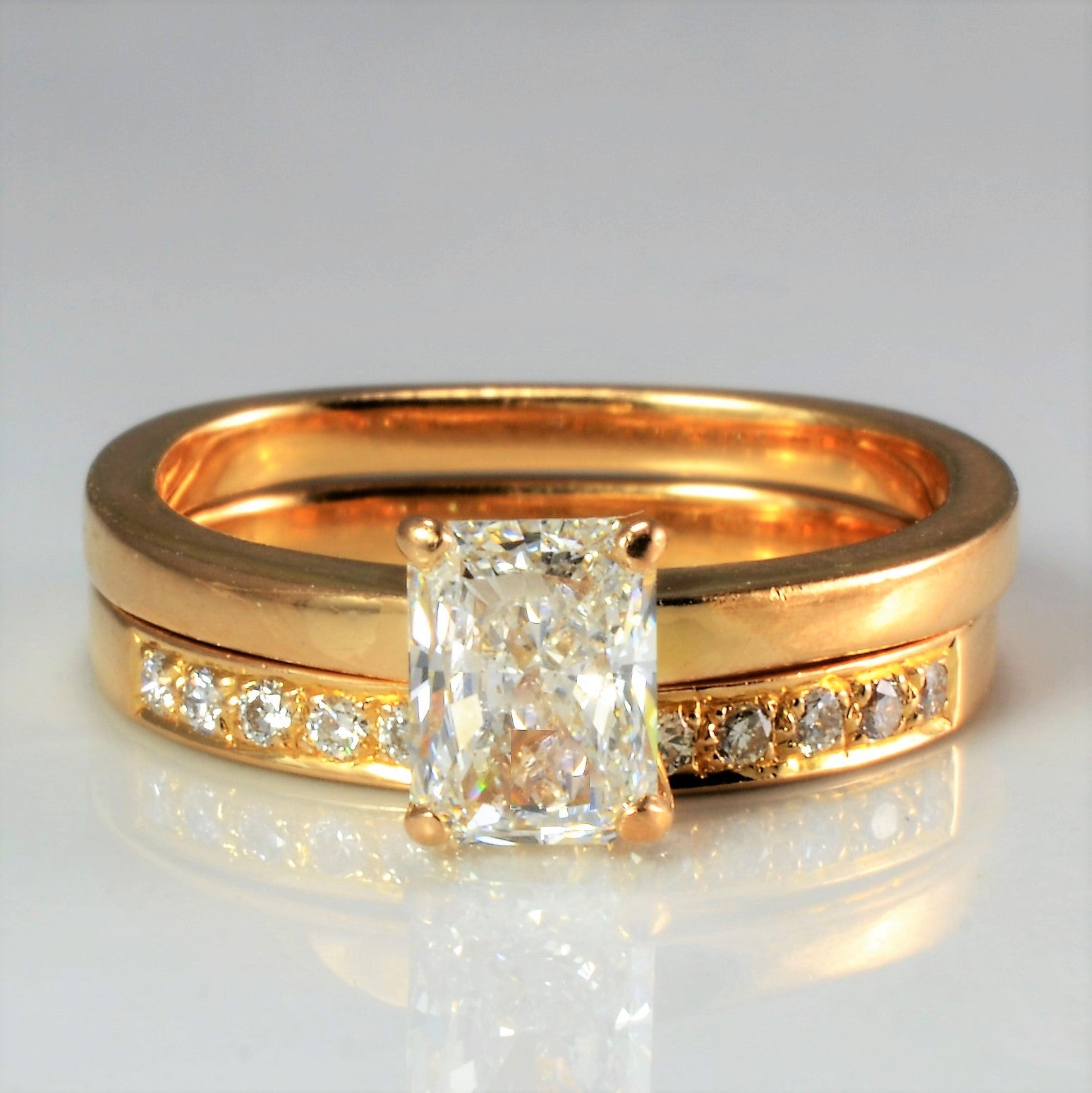 Solitaire Diamond Ring & Diamond Band Engagement Set | 0.76 ctw, SZ 4.5 |