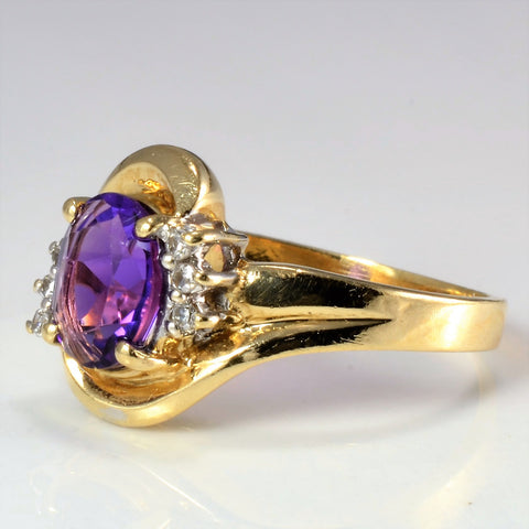 Amethyst & Diamond Cocktail Ring | 0.06 ctw, SZ 7.75 |