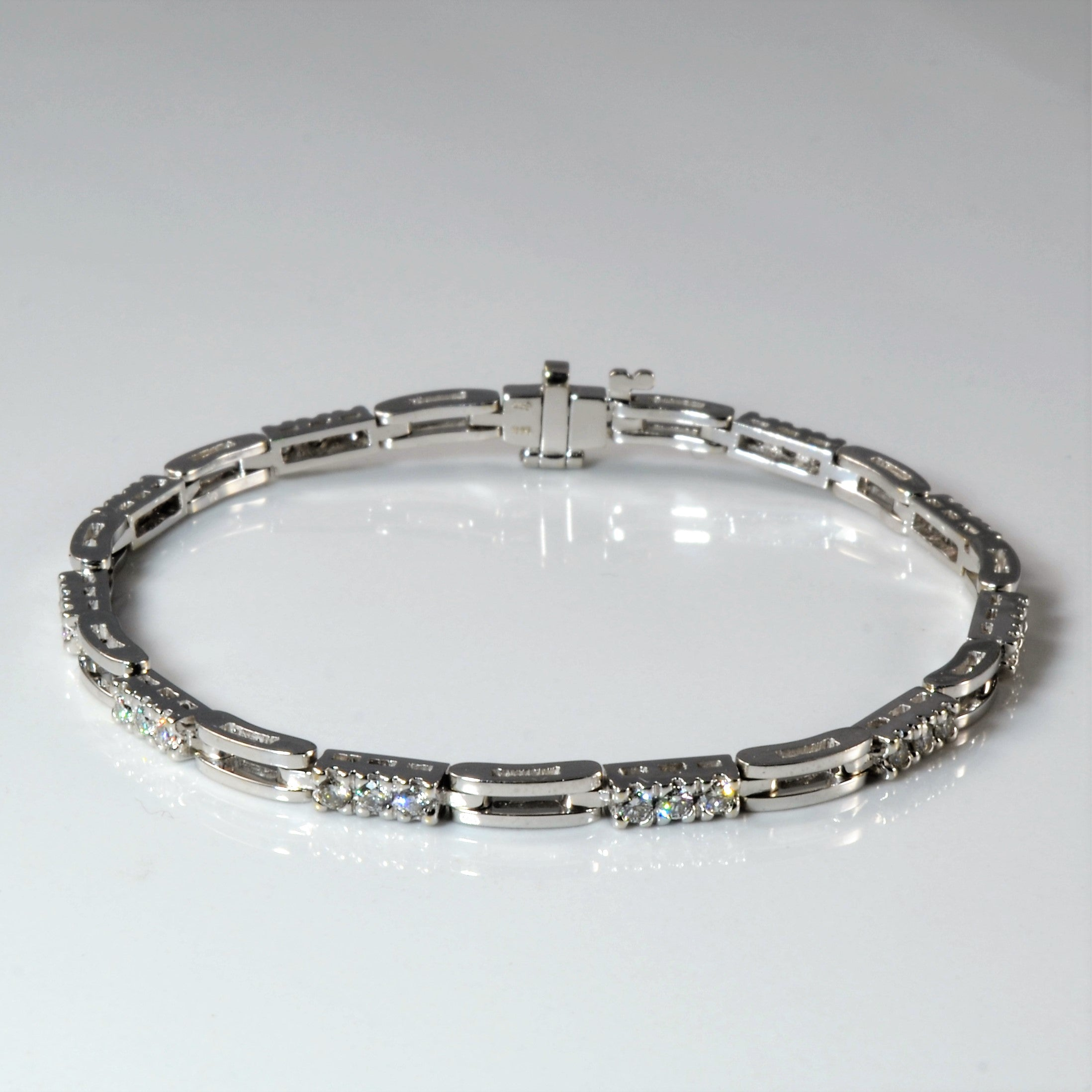 White Gold Diamond Tennis Bracelet | 1.00ctw | 7.5"