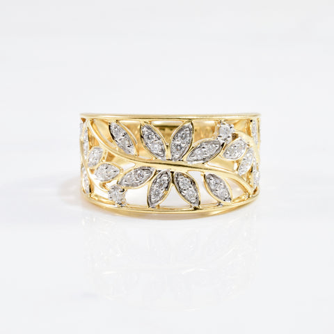 'David Greg' Leaf Silhouette Diamond Ring | 0.22 ctw SZ 6.5 |