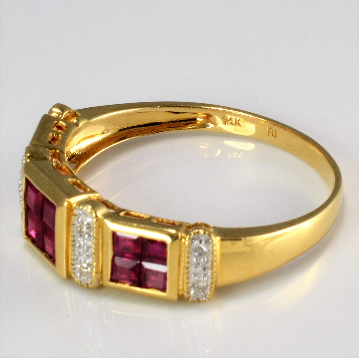 Bezel Set Ruby & Diamond Ring | 0.08 ctw, SZ 10 |