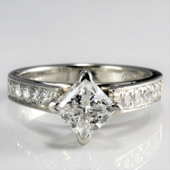 Princess Solitaire & Accents Diamond Engagement Ring | 1.25 ctw, SZ 5.25 |