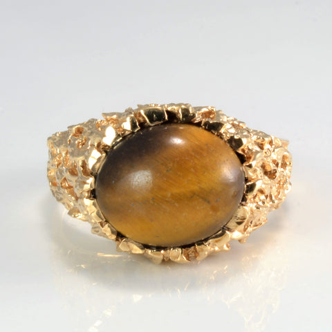 Solitaire Tiger Eye Textured Ring | SZ 10 |