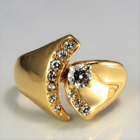 Offset Diamond Wide Ladies Ring | 0.43 ctw, SZ 5.75 |
