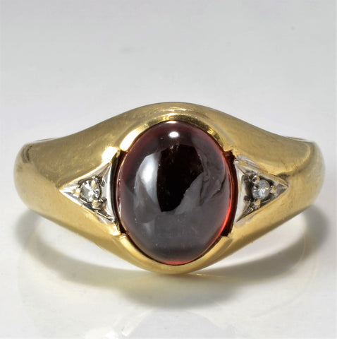 Bezel Set Garnet & Diamond Unisex Ring | 0.02 ctw, SZ 10.25 |