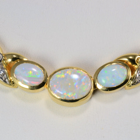 'Birks' Bezel Set Opal & Diamond Necklace | 16''|