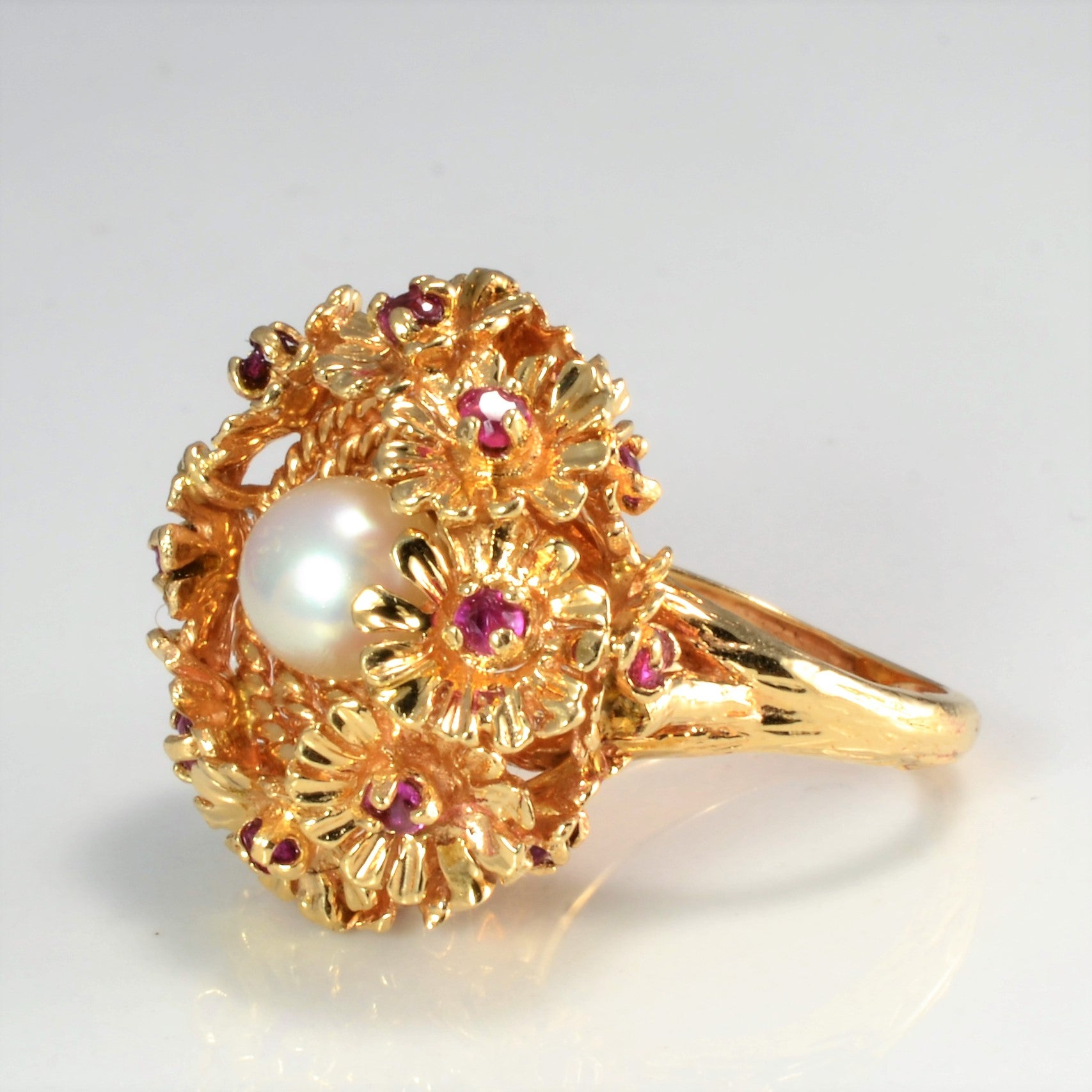 Ruby & Pearl Floral Ring | SZ 4 |
