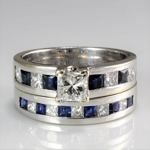 Channel Set Diamond & Sapphire Ring Set | 1.18 ctw, SZ 6 |