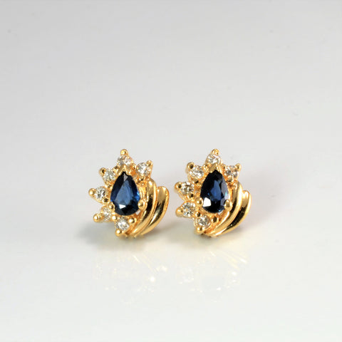 Sapphire & Diamond Stud Earrings | 0.12 ctw |