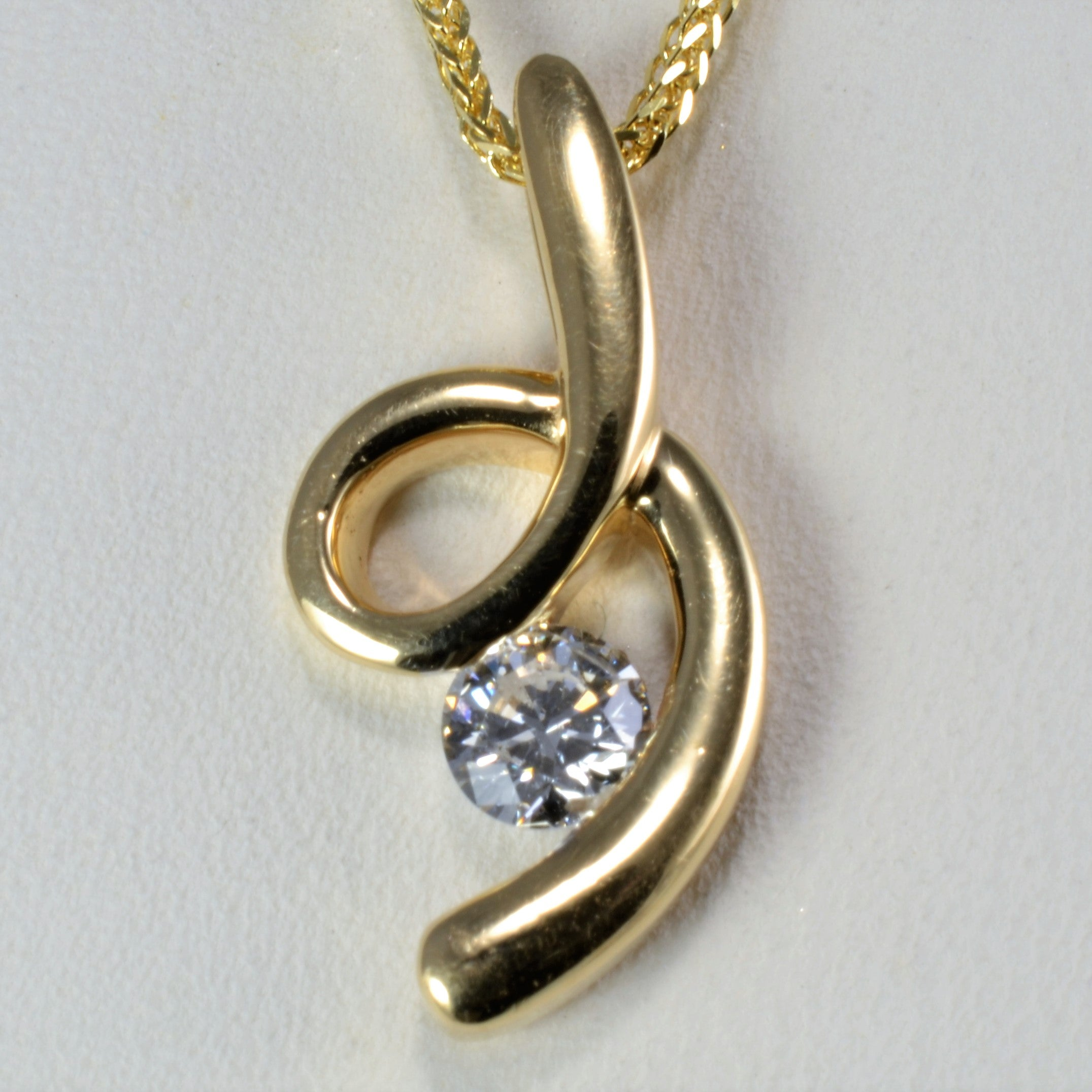 Free Form Ribbon Swirl Diamond Pendant Necklace | 0.22 ct, 19''|