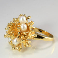 Textured Pearl & Diamond Ladies Ring | 0.06 ctw, SZ 5 |