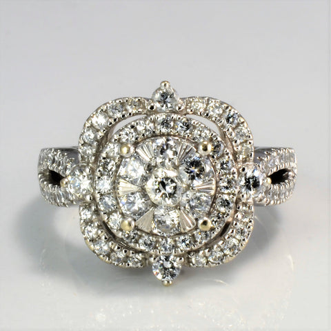Cluster Set Diamond Engagement Ring | 1.10 ctw, SZ 6.75 |