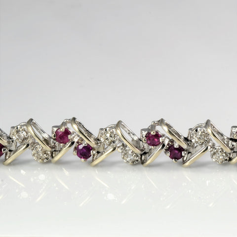 Ruby & Diamond Chain Bracelet | 0.45 ctw, 7''|