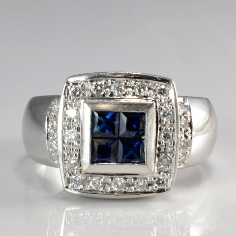Grid Set Sapphire Y Accent Diamond Wide Ring | 0.24 ctw, SZ 7 |