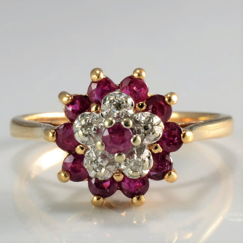 Tapered Flower Design Ruy & Diamond Ring | 0.05 ctw, SZ 6 |
