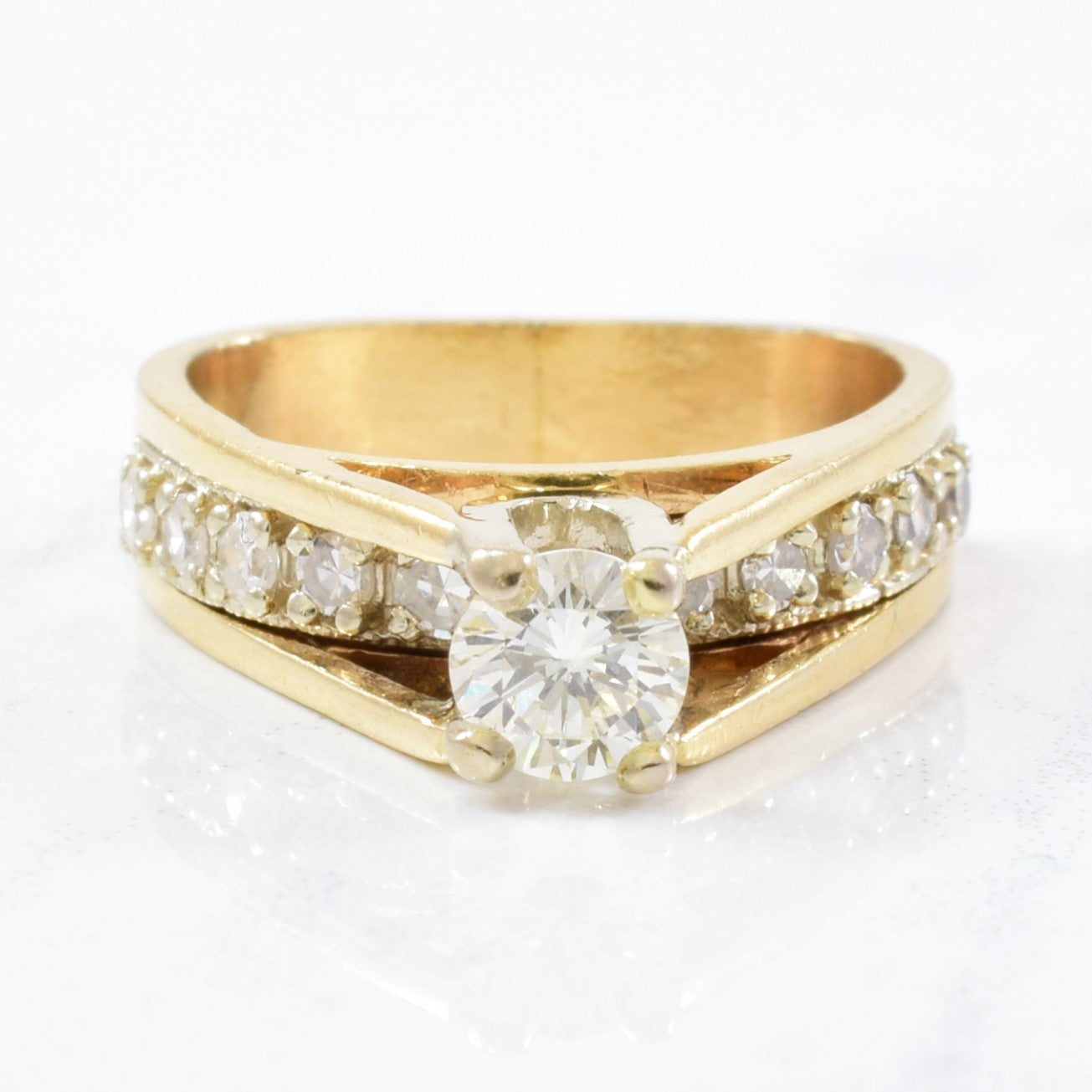 High Set Diamond Cathedral Engagement Ring | 0.67ctw | SZ 3.5 |