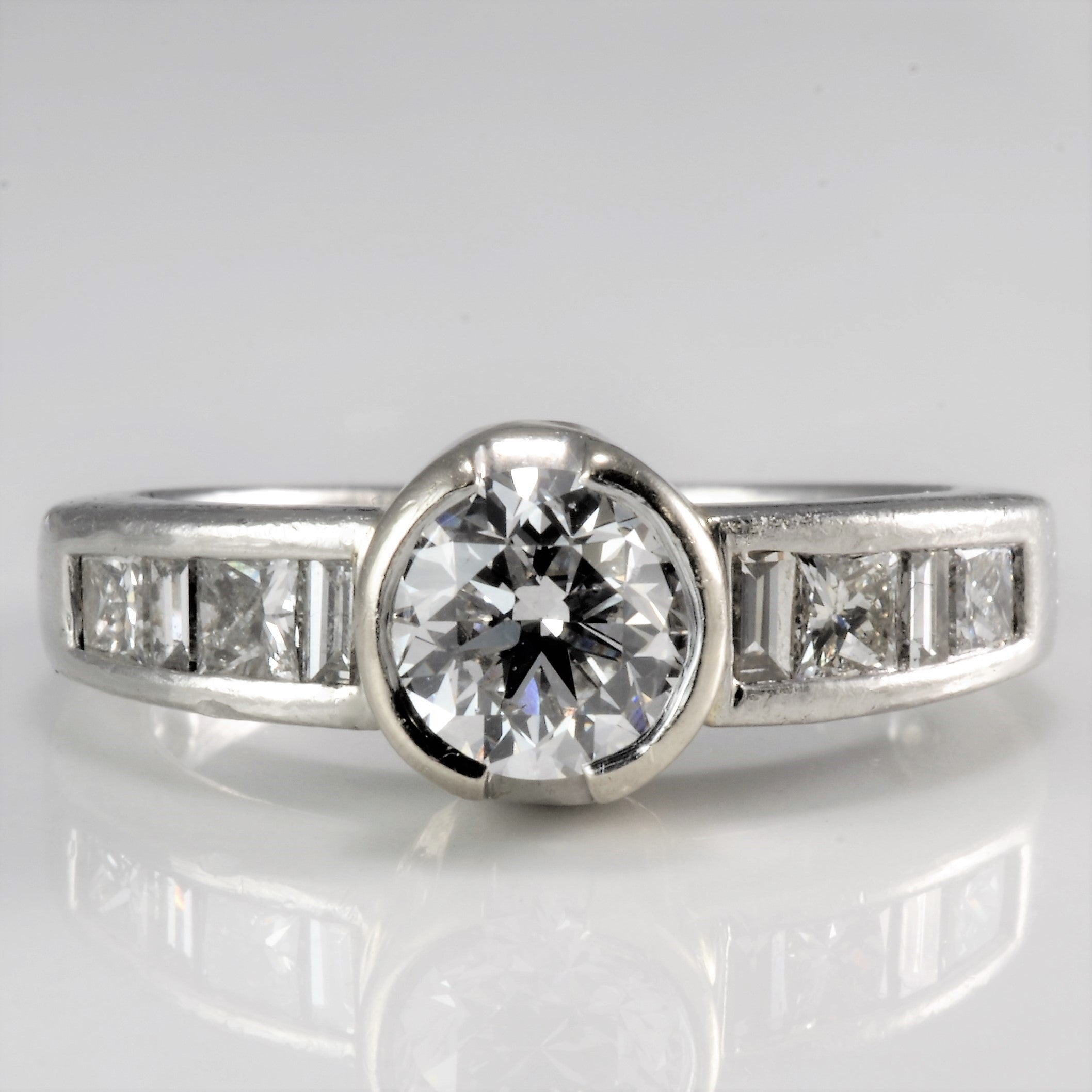 Semi Bezel Set Multi Stone Engagement Ring | 1.00 ctw, SZ 4 |