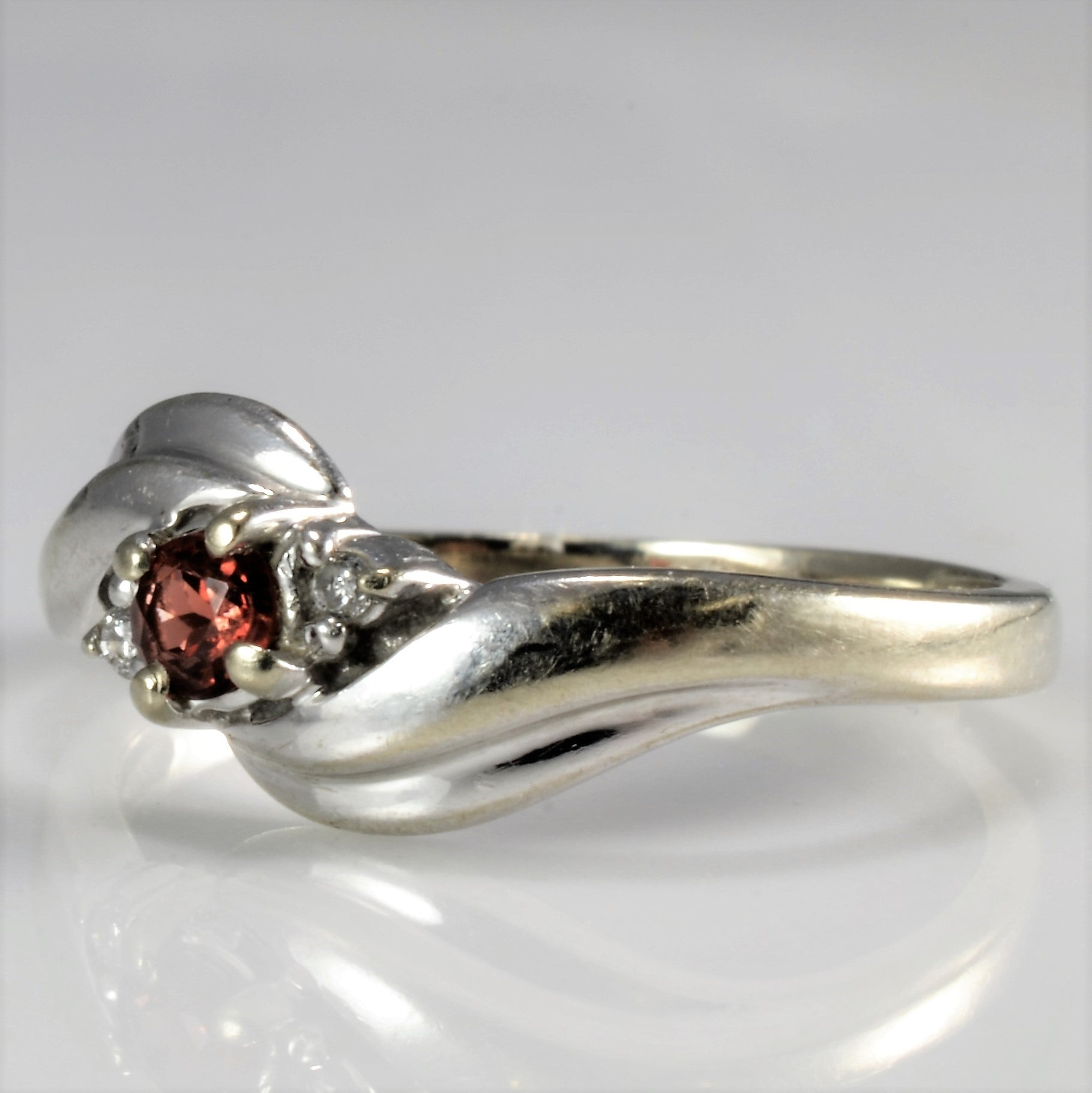 Bypass Garnet & Diamond Petite Ring | SZ 3|