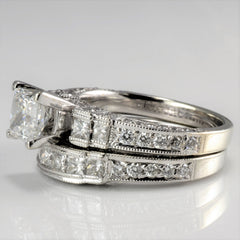 Milgrain Princess Cut Diamond Wedding Set | 2.50 ctw, SZ 5.25 |