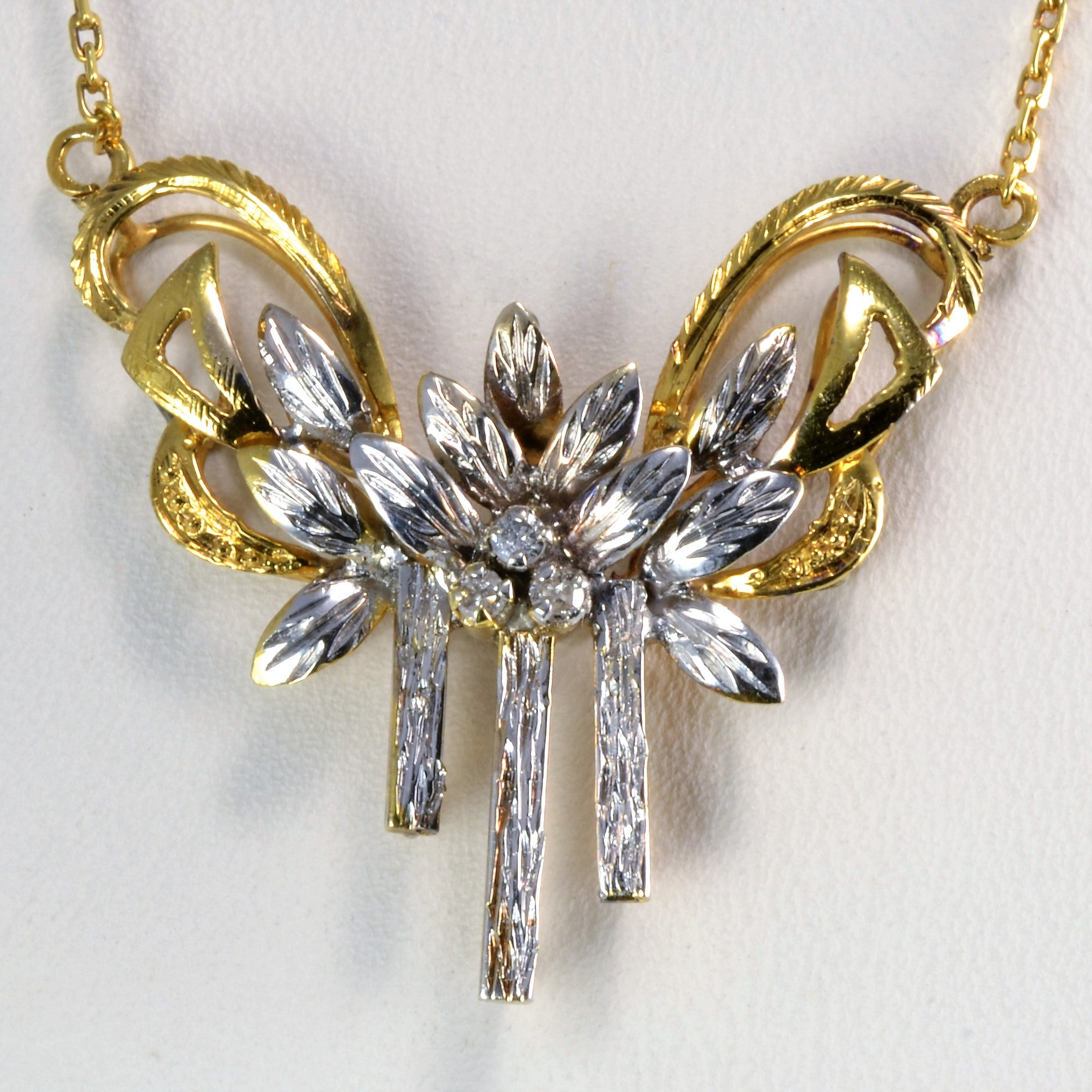 Floral Inspired Two Tone Gold Diamond Necklace | 0.03 ctw, 16''|