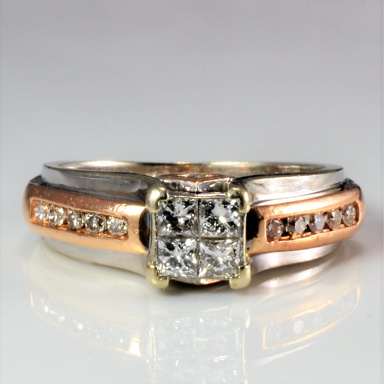 Two Tone Gold Channel Diamond Engagement Ring | 0.41 ctw, SZ 6.25 |