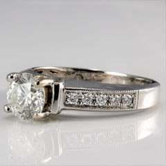 SIMON G Solitaire Diamond & Accents Ladies Engagement Ring | 0.91 ctw, SZ 4.5|