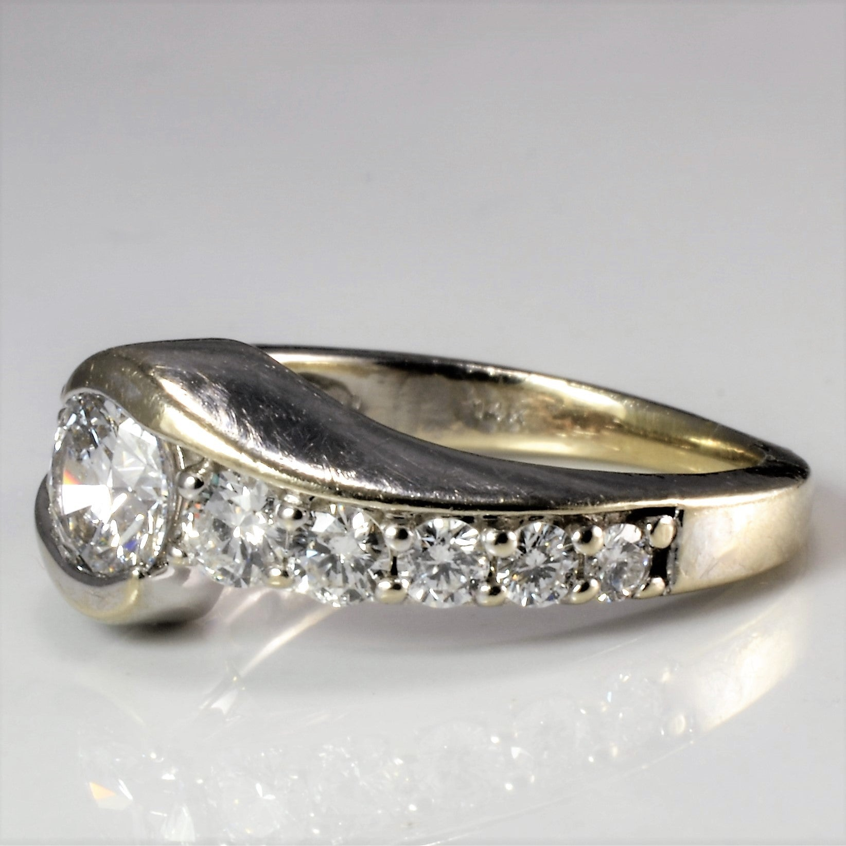 Bypass Pave Diamond Engagement Ring | 0.90 ctw, SZ 4.25 |