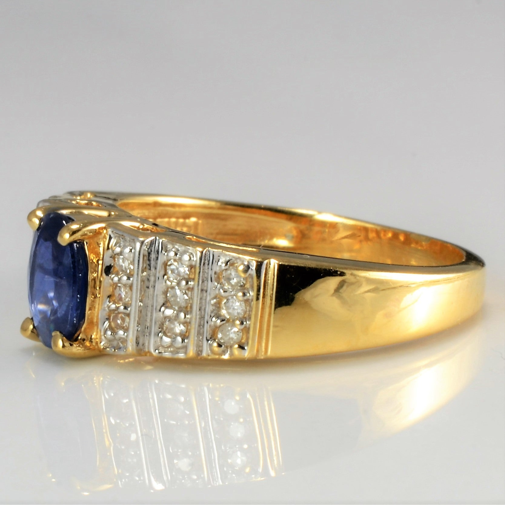 Solitaire Sapphire & Cluster Diamond Ring | 0.09 ctw, SZ 5.25 |