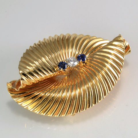 Beautiful Vintage Spiral Pattern Diamond & Sapphire Brooch | 0.17 ct|