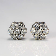 Cluster Diamond Stud Earrings | 0.84 ctw |