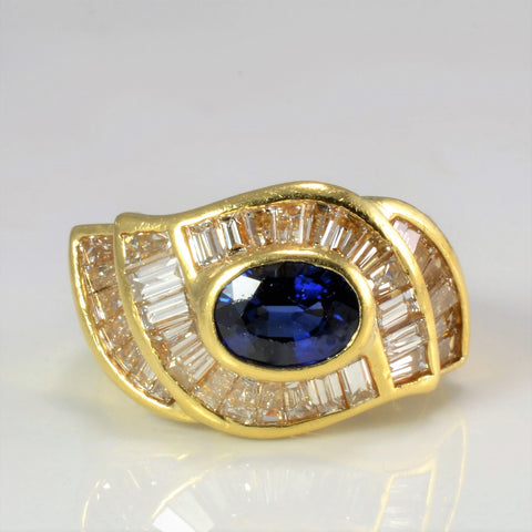 BIRKS Sapphire & Diamond Ladies Cocktail Ring | 0.95 ctw, SZ 4.5 |