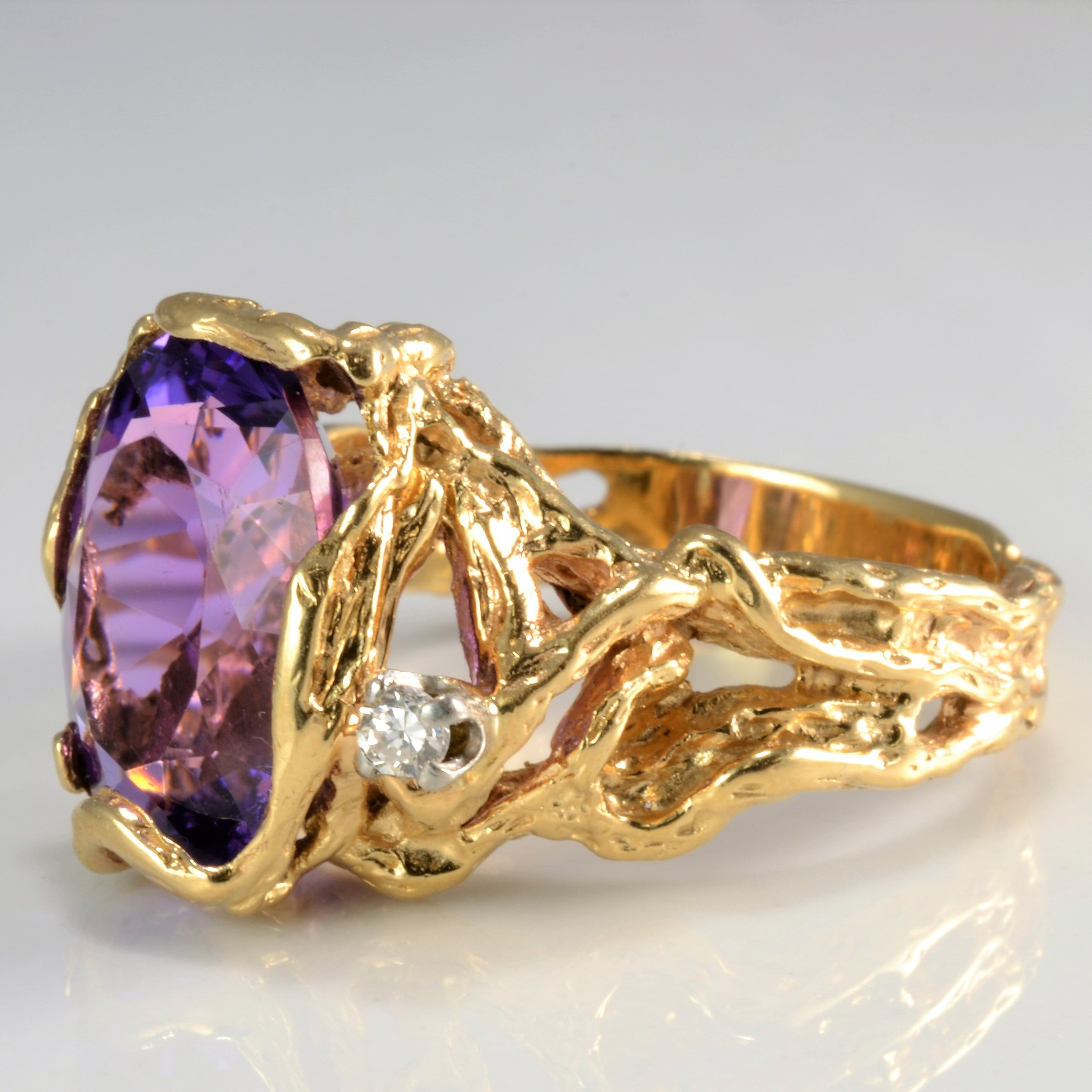 Unique Pattern Amethyst & Diamond Ring | SZ 9.75 |