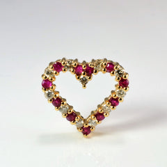 Diamond & Ruby Heart Pendant | 0.33 ctw |