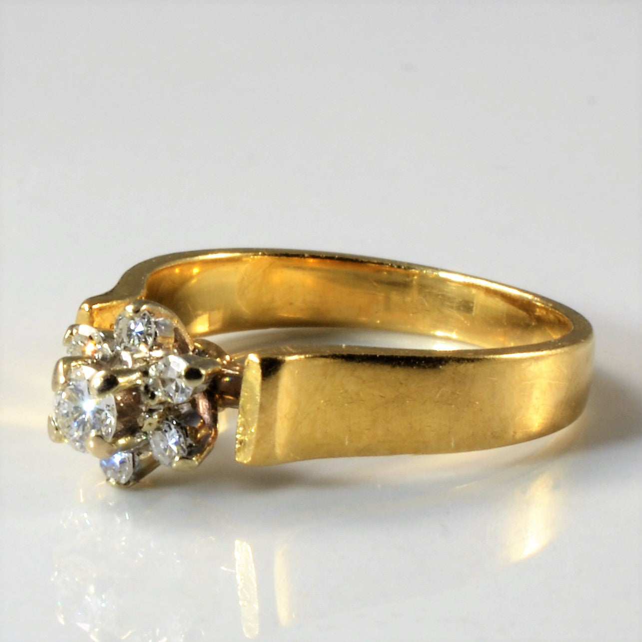 Open Cathedral Floral Diamond Ring | 0.13 ctw, SZ 3 |