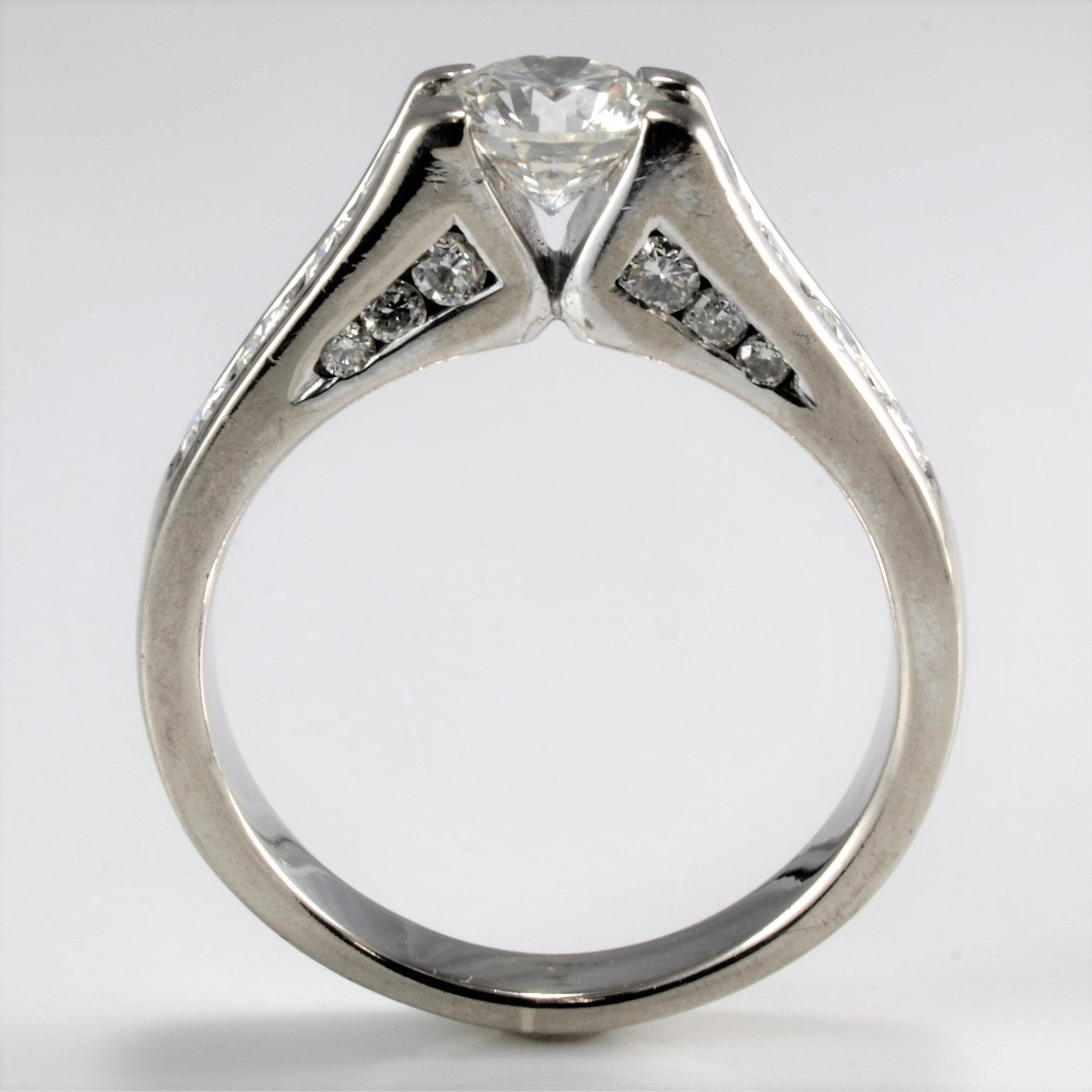 Channel Diamond Solid Engagement Ring | 1.32 ctw, SZ 5.5 |